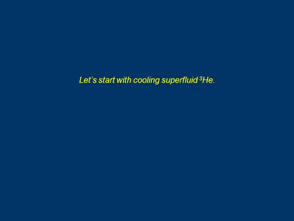 Lets start with cooling superfluid 3 He.