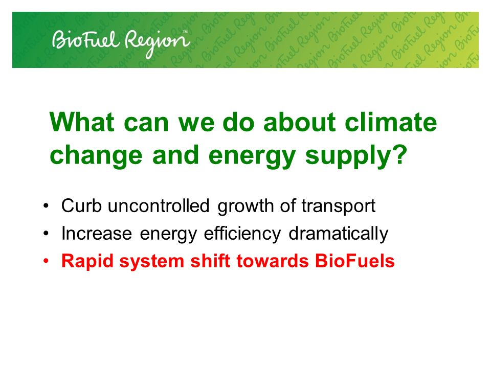 What can we do about climate change and energy supply.