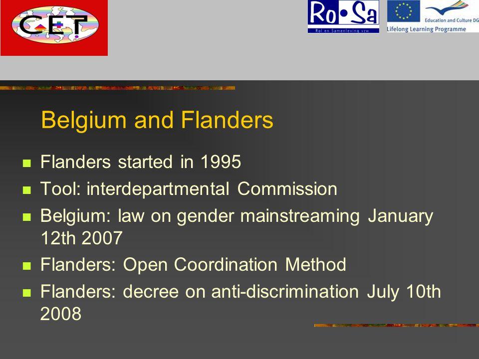 Belgium and Flanders Flanders started in 1995 Tool: interdepartmental Commission Belgium: law on gender mainstreaming January 12th 2007 Flanders: Open