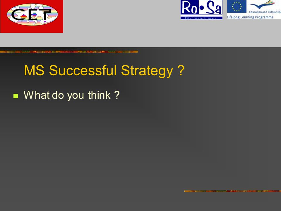 MS Successful Strategy ? What do you think ? G