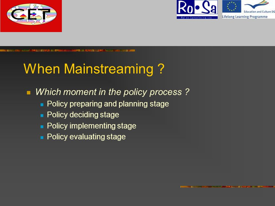 When Mainstreaming ? Which moment in the policy process ? Policy preparing and planning stage Policy deciding stage Policy implementing stage Policy e