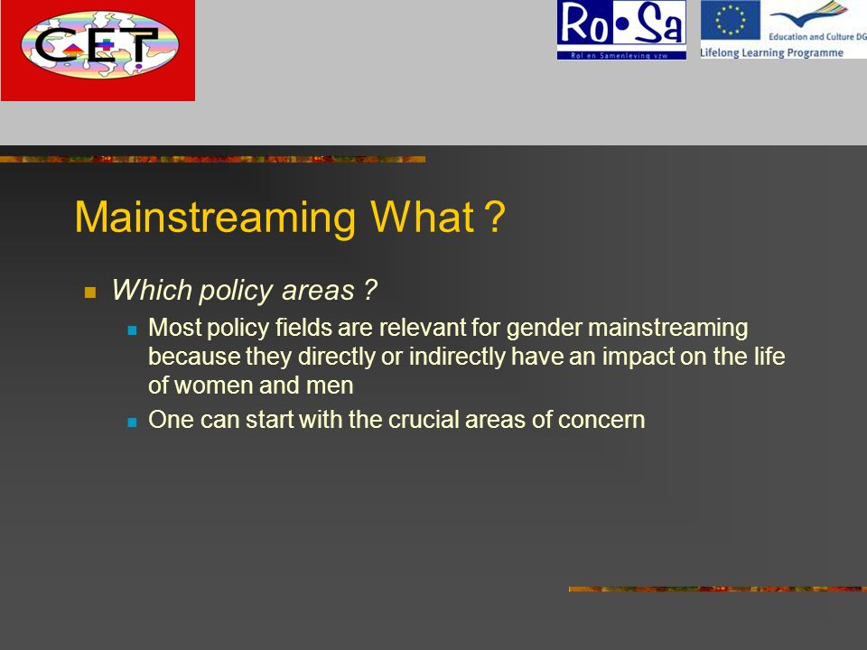 Mainstreaming What ? Which policy areas ? Most policy fields are relevant for gender mainstreaming because they directly or indirectly have an impact