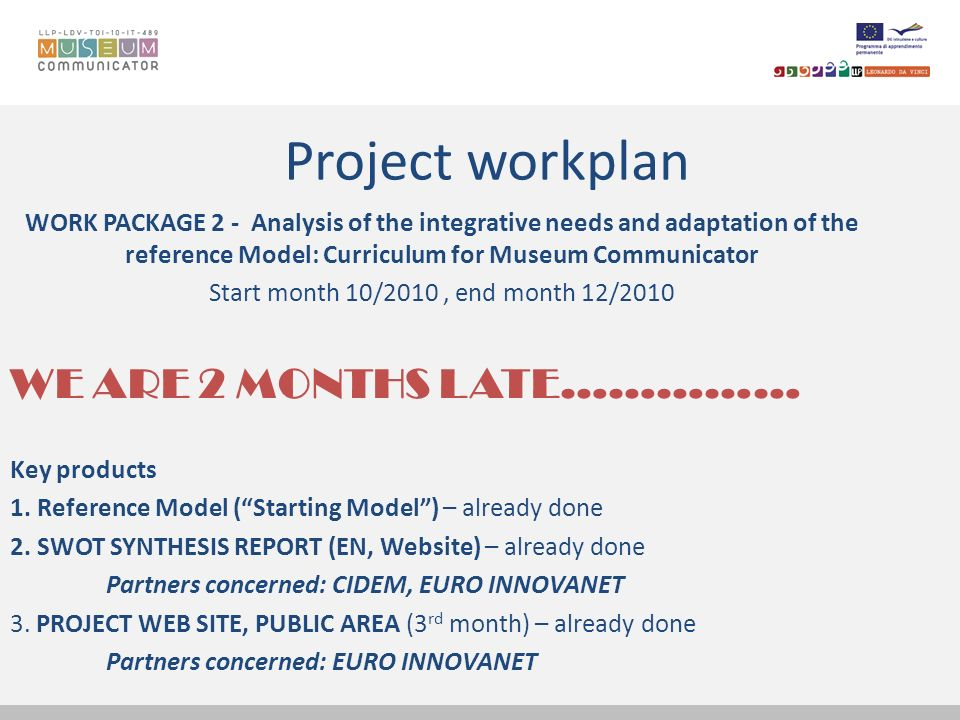 Project workplan WORK PACKAGE 2 - Analysis of the integrative needs and adaptation of the reference Model: Curriculum for Museum Communicator Start mo