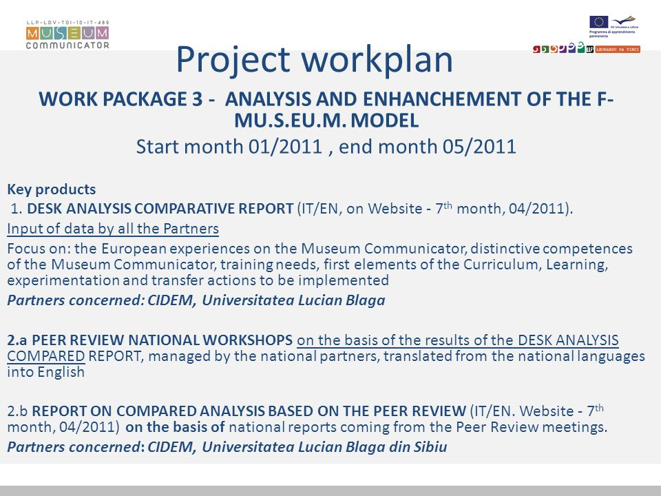 Project workplan WORK PACKAGE 3 - ANALYSIS AND ENHANCHEMENT OF THE F- MU.S.EU.M. MODEL Start month 01/2011, end month 05/2011 Key products 1. DESK ANA