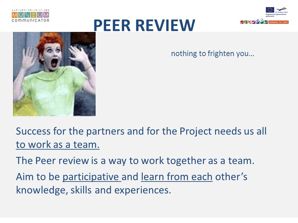 PEER REVIEW nothing to frighten you… Success for the partners and for the Project needs us all to work as a team. The Peer review is a way to work tog