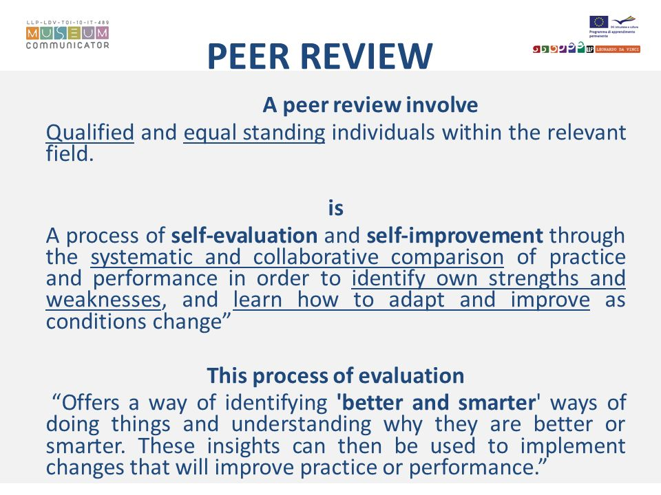 PEER REVIEW A peer review involve Qualified and equal standing individuals within the relevant field. is A process of self-evaluation and self-improve