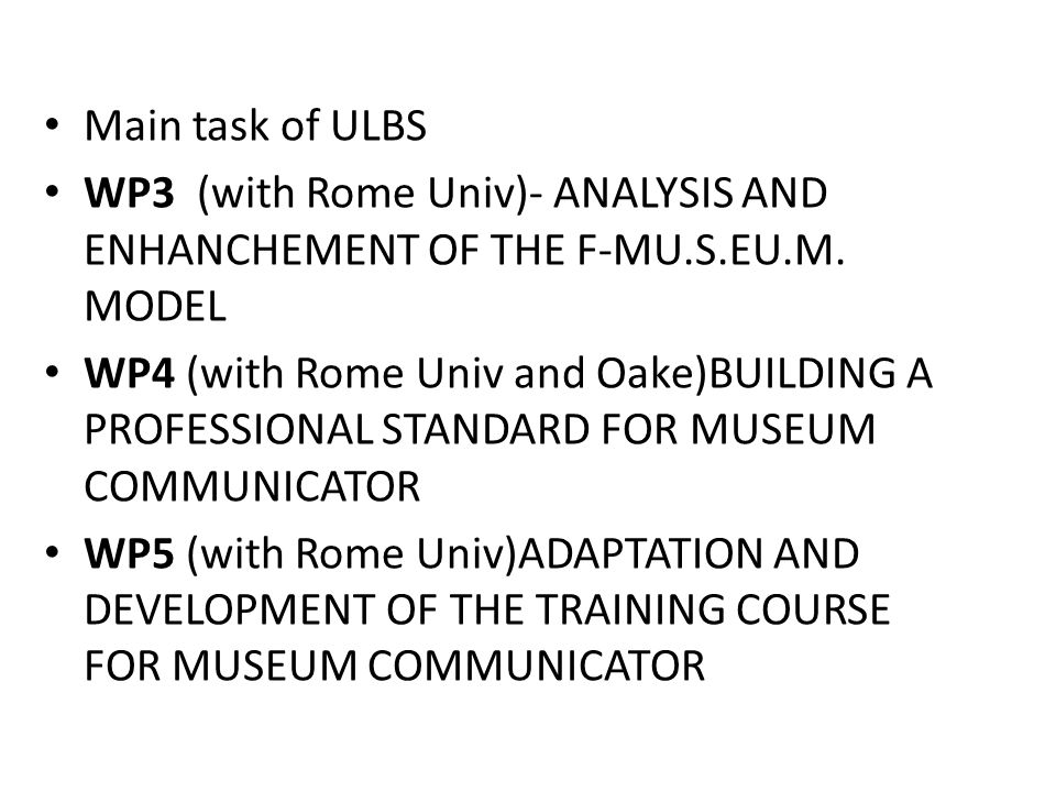 Main task of ULBS WP3 (with Rome Univ)- ANALYSIS AND ENHANCHEMENT OF THE F-MU.S.EU.M.