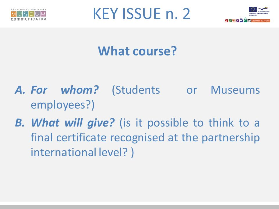 KEY ISSUE n. 2 What course. A.For whom. (Students or Museums employees ) B.What will give.
