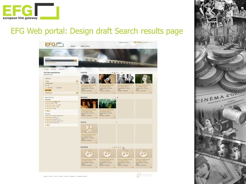 EFG Web portal: Design draft Search results page