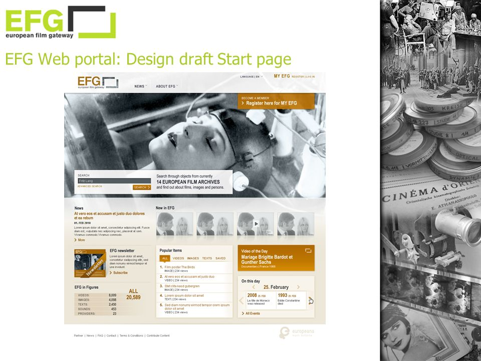 EFG Web portal: Design draft Start page