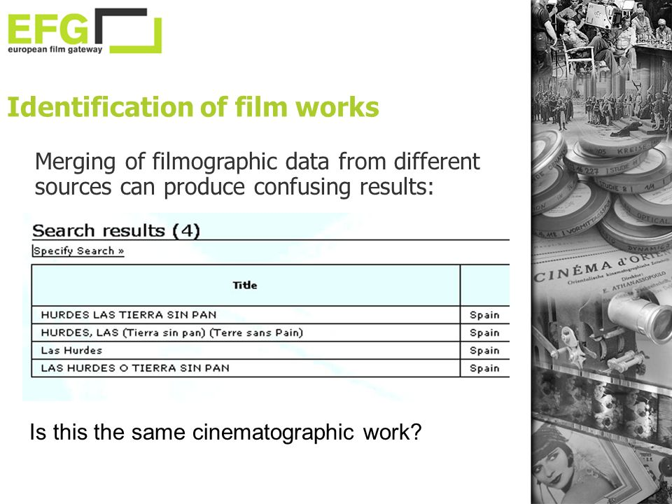 Identification of film works Is this the same cinematographic work? Merging of filmographic data from different sources can produce confusing results: