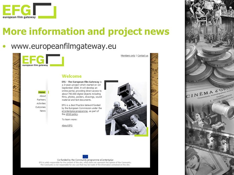 More information and project news www.europeanfilmgateway.eu