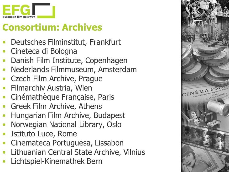 Consortium: Archives Deutsches Filminstitut, Frankfurt Cineteca di Bologna Danish Film Institute, Copenhagen Nederlands Filmmuseum, Amsterdam Czech Fi