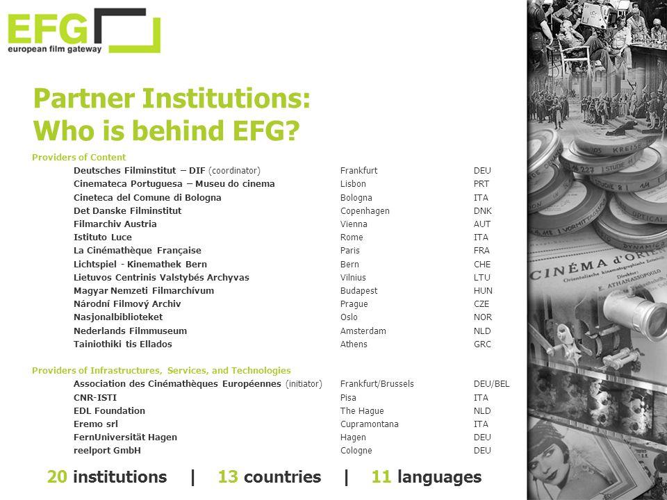 Providers of Content Deutsches Filminstitut – DIF (coordinator)FrankfurtDEU Cinemateca Portuguesa – Museu do cinemaLisbonPRT Cineteca del Comune di Bo