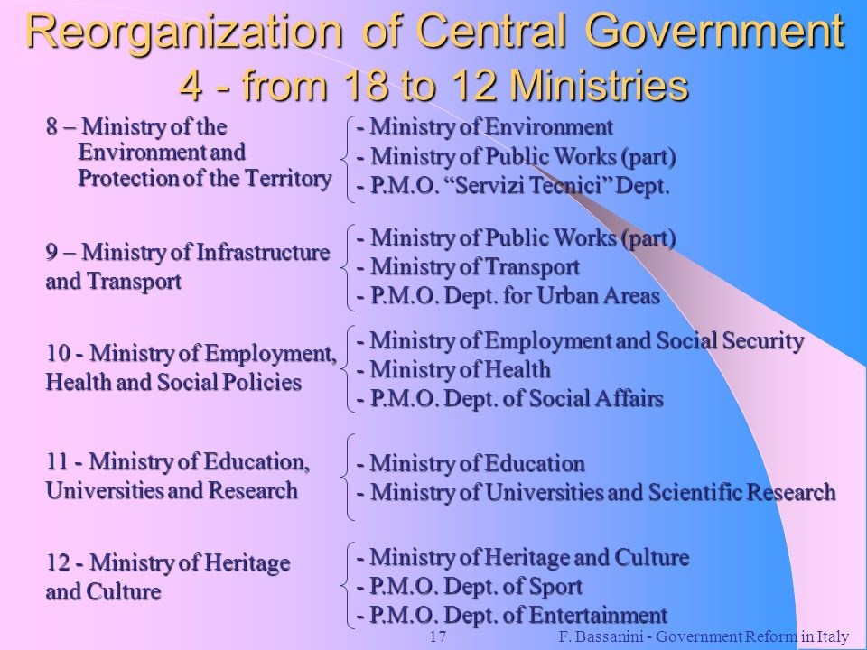 F. Bassanini - Government Reform in Italy17 Reorganization of Central Government 4 - from 18 to 12 Ministries 8 – Ministry of the Environment and Prot