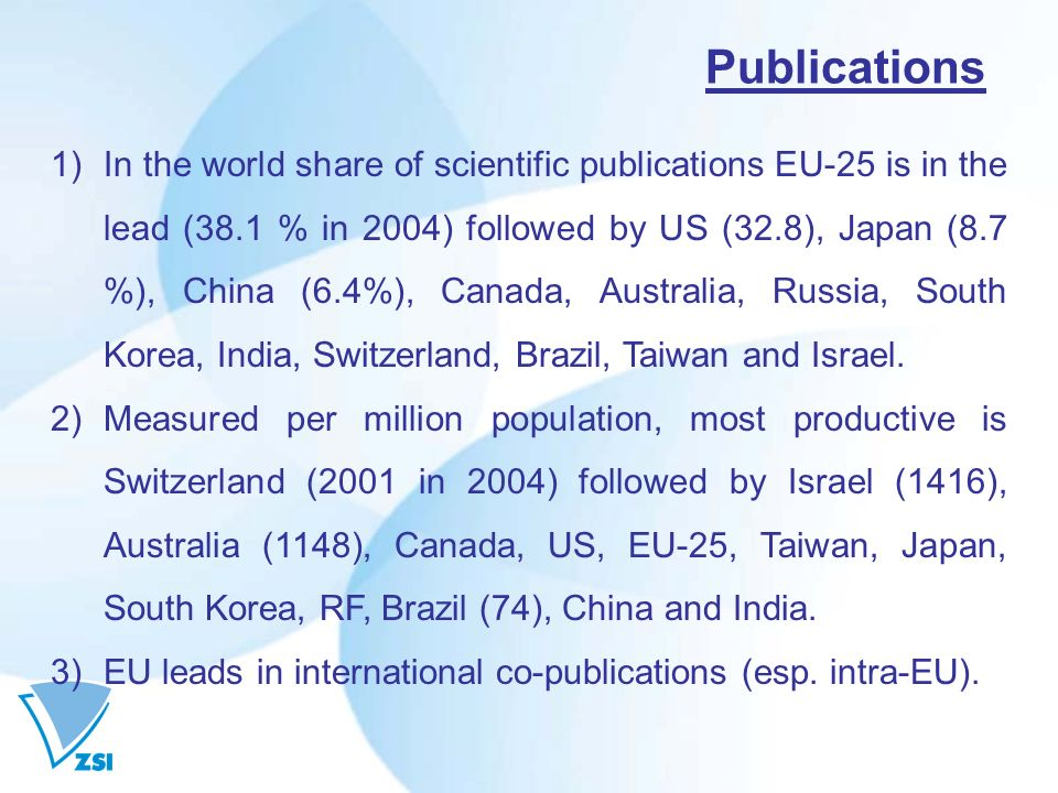 Publications 1)In the world share of scientific publications EU-25 is in the lead (38.1 % in 2004) followed by US (32.8), Japan (8.7 %), China (6.4%), Canada, Australia, Russia, South Korea, India, Switzerland, Brazil, Taiwan and Israel.