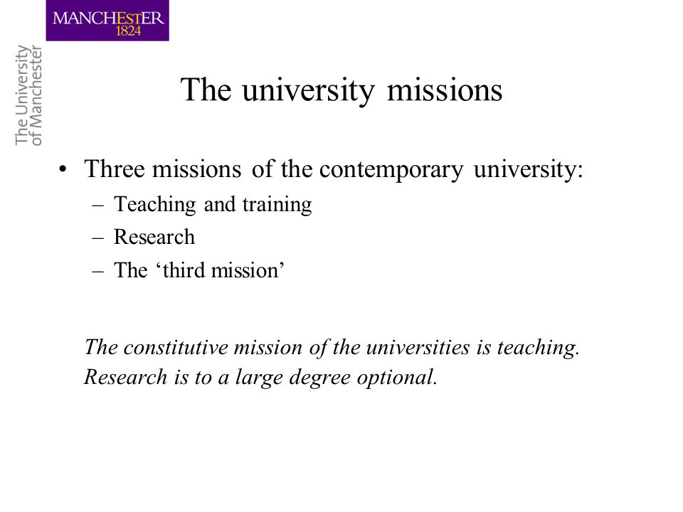 The university missions Three missions of the contemporary university: –Teaching and training –Research –The third mission The constitutive mission of