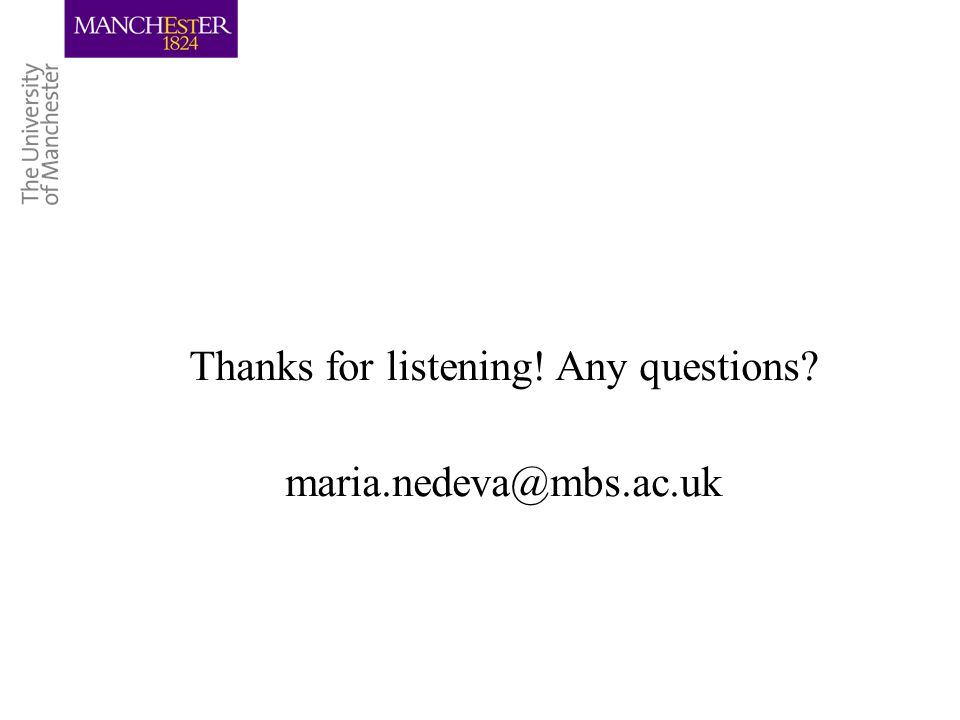 Thanks for listening! Any questions? maria.nedeva@mbs.ac.uk