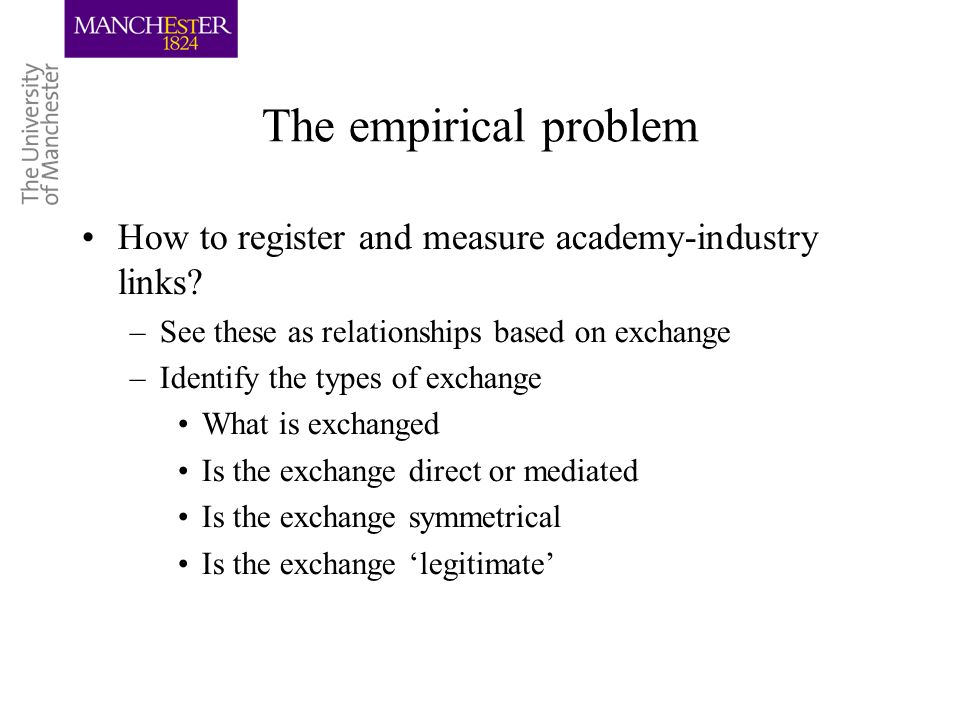 The empirical problem Build from the activities (functions) the organisations Example: universities –Exchange in the context of research –Exchange in the context of teaching