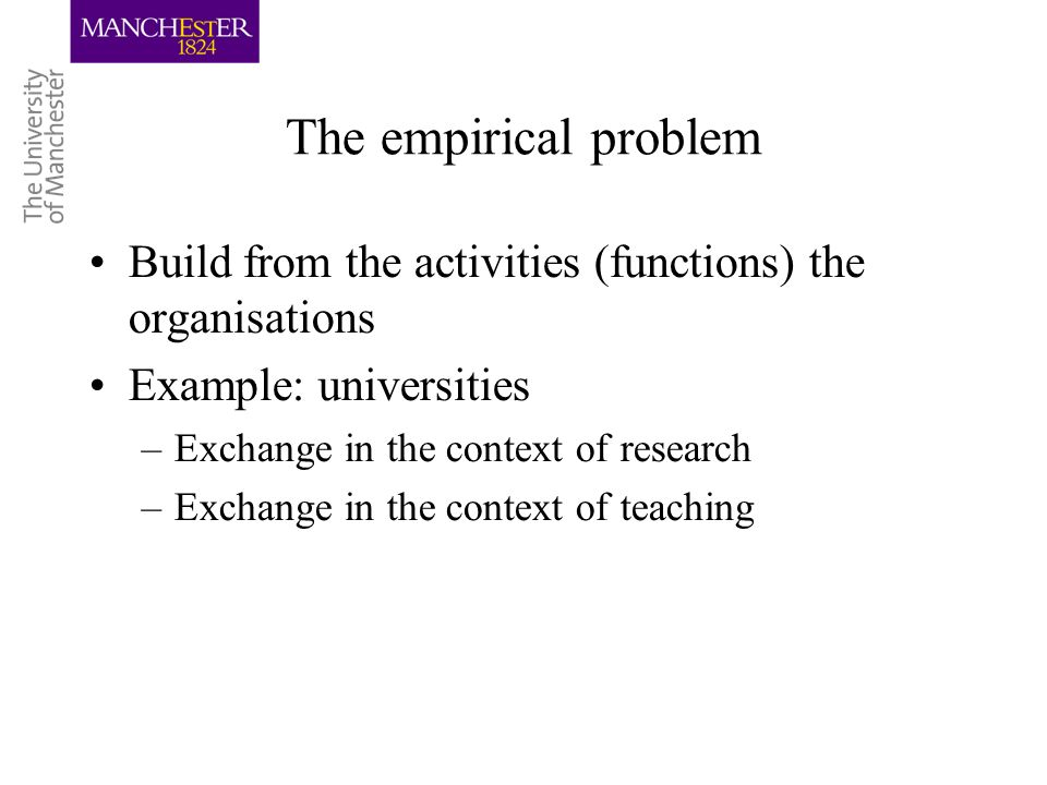 The empirical problem Build from the activities (functions) the organisations Example: universities –Exchange in the context of research –Exchange in