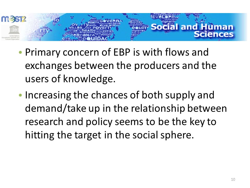 Primary concern of EBP is with flows and exchanges between the producers and the users of knowledge.