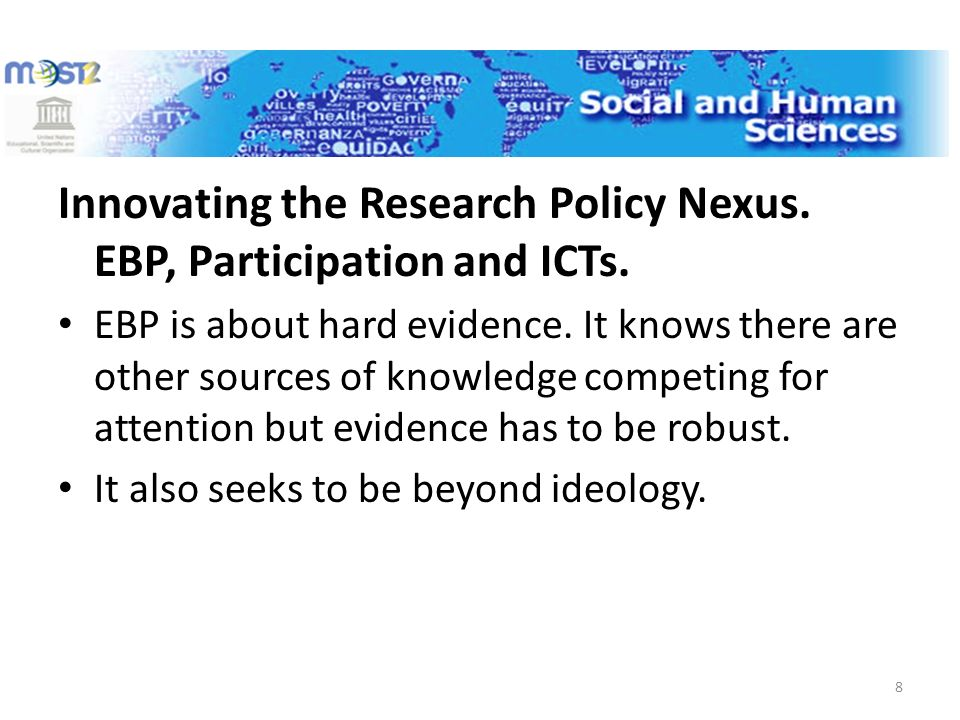 Innovating the Research Policy Nexus. EBP, Participation and ICTs.