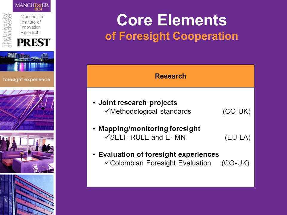 Core Elements of Foresight Cooperation Research Joint research projects Methodological standards (CO-UK) Mapping/monitoring foresight SELF-RULE and EFMN (EU-LA) Evaluation of foresight experiences Colombian Foresight Evaluation (CO-UK) Manchester Institute of Innovation Research