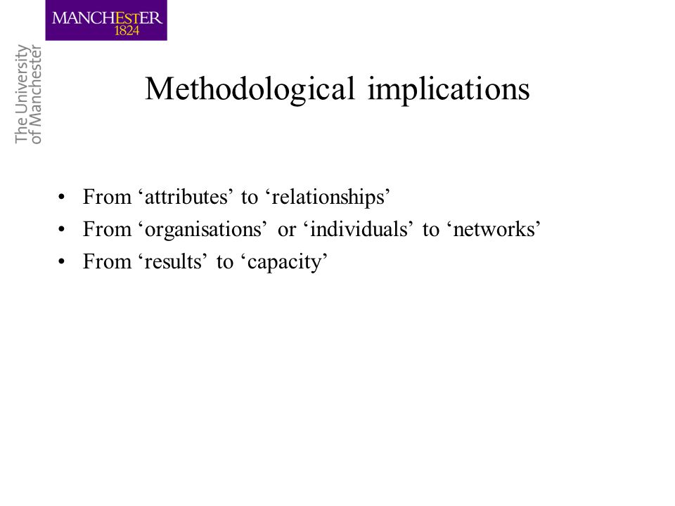Methodological implications From attributes to relationships From organisations or individuals to networks From results to capacity