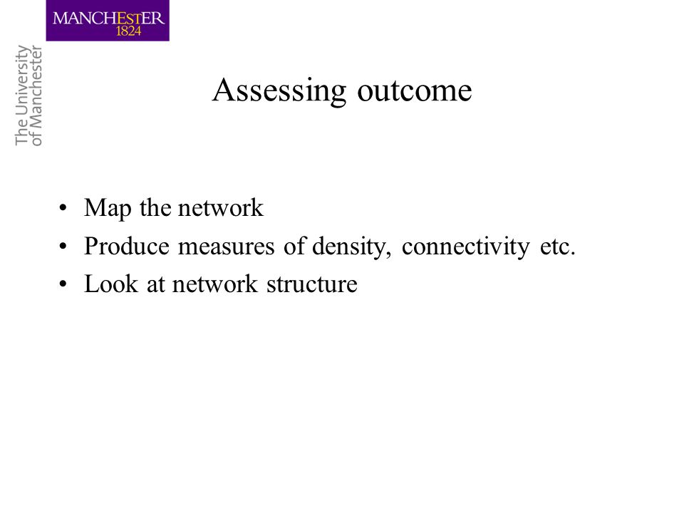 Assessing outcome Map the network Produce measures of density, connectivity etc. Look at network structure