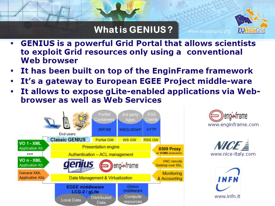 GENIUS is a powerful Grid Portal that allows scientists to exploit Grid resources only using a conventional Web browser It has been built on top of th
