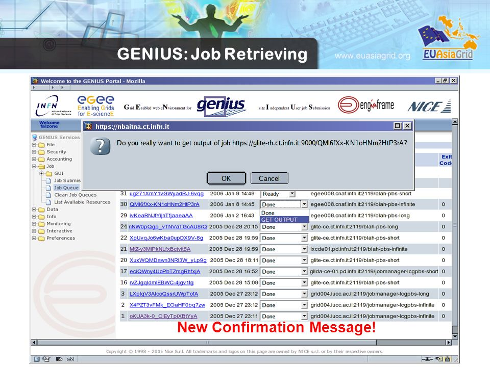 New Confirmation Message! GENIUS: Job Retrieving
