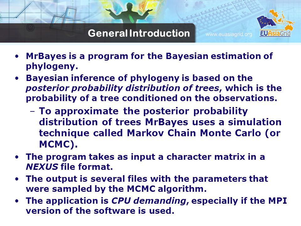 General Introduction MrBayes is a program for the Bayesian estimation of phylogeny.