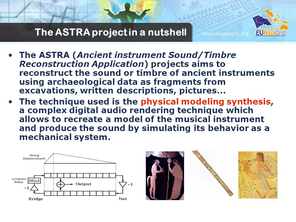 The ASTRA project in a nutshell The ASTRA (Ancient instrument Sound/Timbre Reconstruction Application) projects aims to reconstruct the sound or timbre of ancient instruments using archaeological data as fragments from excavations, written descriptions, pictures...