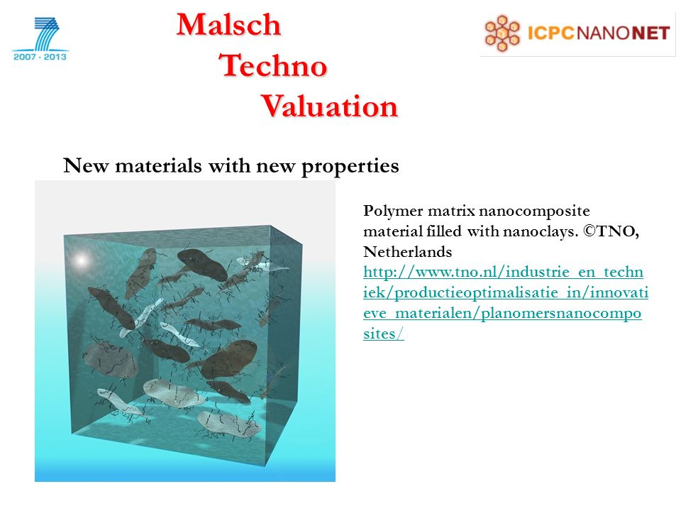 Malsch Techno Techno Valuation Valuation New materials with new properties Polymer matrix nanocomposite material filled with nanoclays.