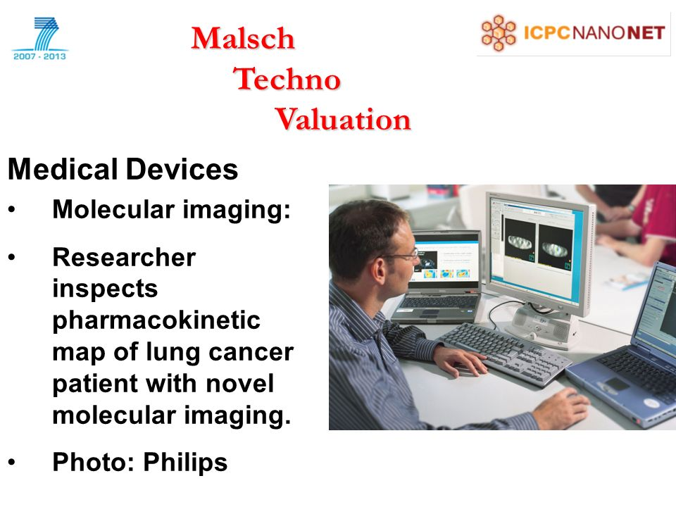 Medical Devices Molecular imaging: Researcher inspects pharmacokinetic map of lung cancer patient with novel molecular imaging.