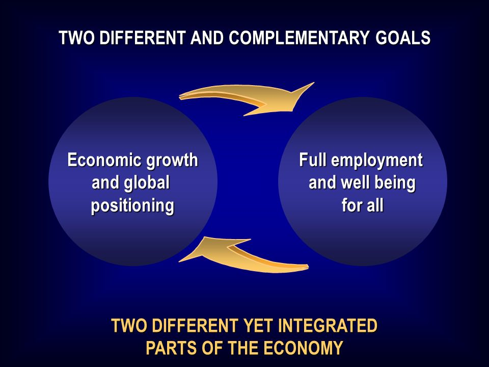 TWO DIFFERENT YET INTEGRATED PARTS OF THE ECONOMY TWO DIFFERENT AND COMPLEMENTARY GOALS Economic growth and global positioning Full employment and well being for all