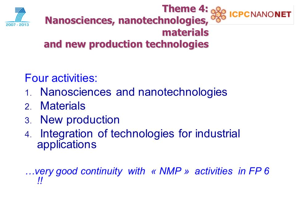 Theme 4: Nanosciences, nanotechnologies, materials and new production technologies Four activities: 1.
