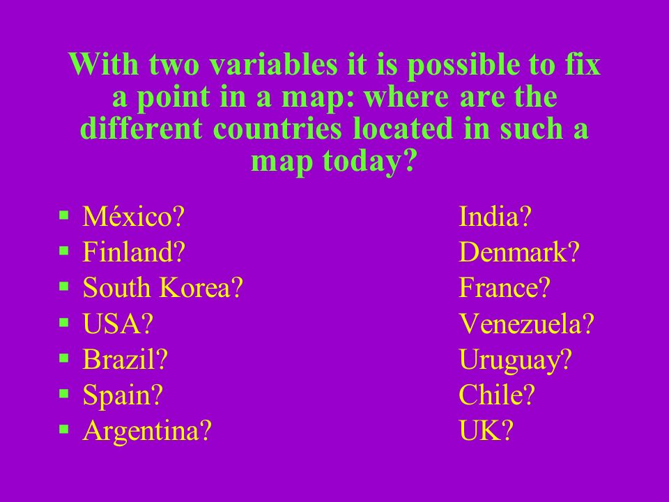 With two variables it is possible to fix a point in a map: where are the different countries located in such a map today.