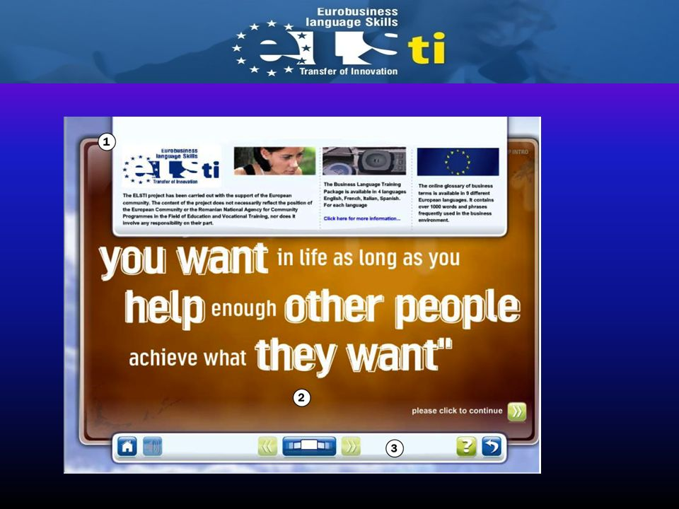 The no limits to success personal development module is part of the elsti Eurobusiness Language Skills portal. There is an initial introduction to the