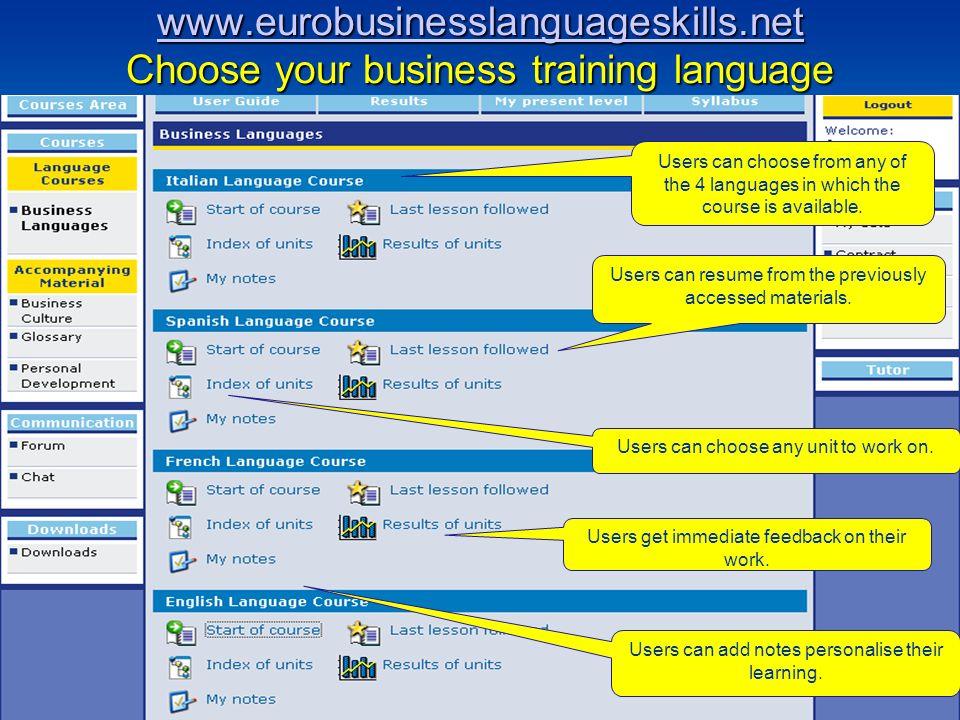 www.eurobusinesslanguageskills.net www.eurobusinesslanguageskills.net Choose your business training language www.eurobusinesslanguageskills.net Users