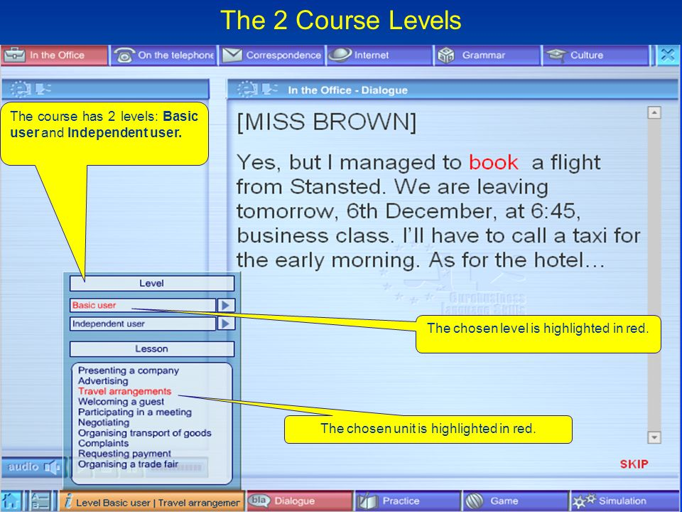 Change slide The chosen level is highlighted in red.