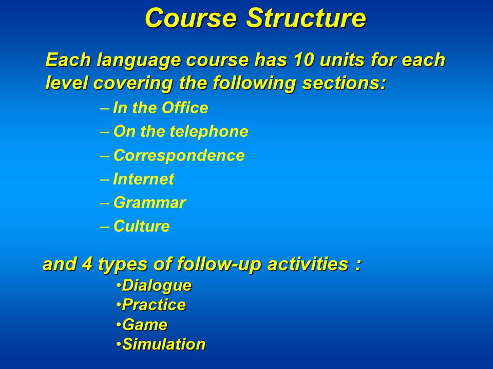 Course Structure Each language course has 10 units for each level covering the following sections: –In the Office –On the telephone –Correspondence –Internet –Grammar –Culture and 4 types of follow-up activities : DialogueDialogue PracticePractice GameGame SimulationSimulation