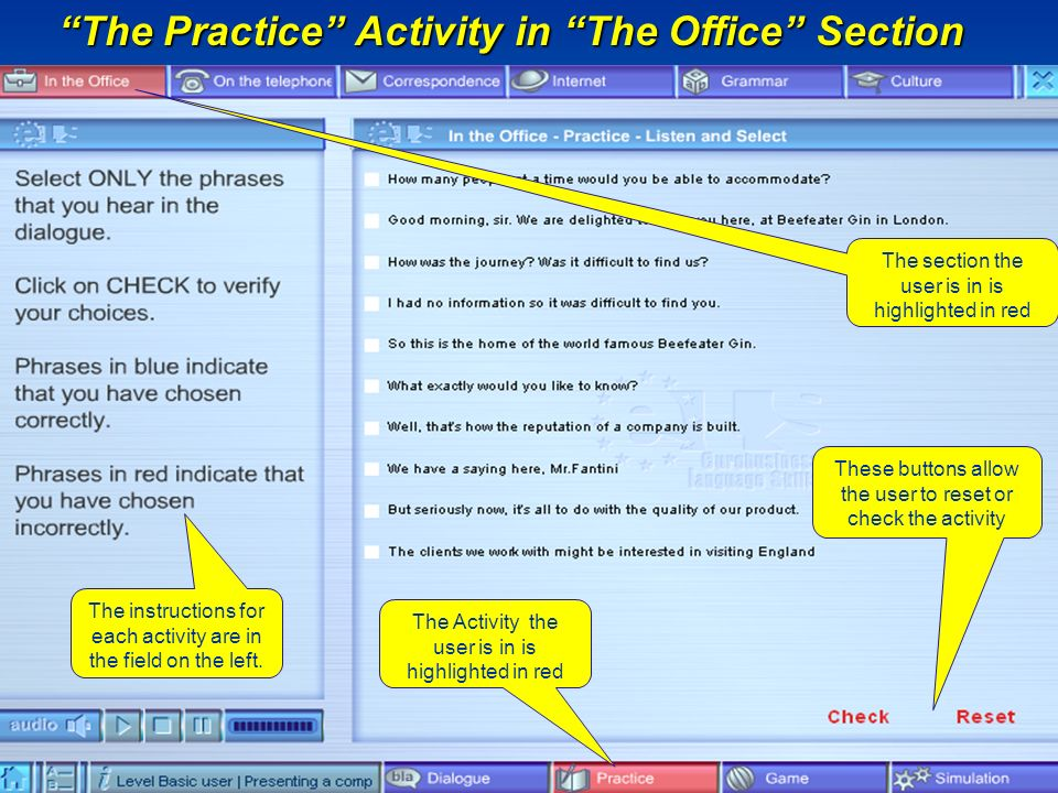 The instructions for each activity are in the field on the left.