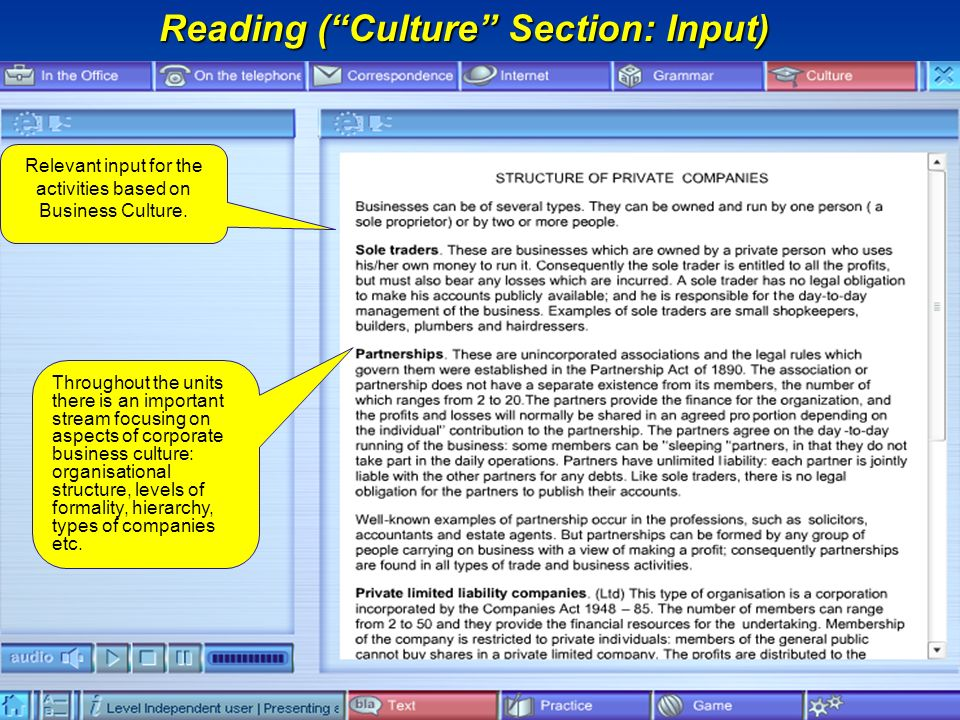 Reading (Culture Section: Input) Relevant input for the activities based on Business Culture.