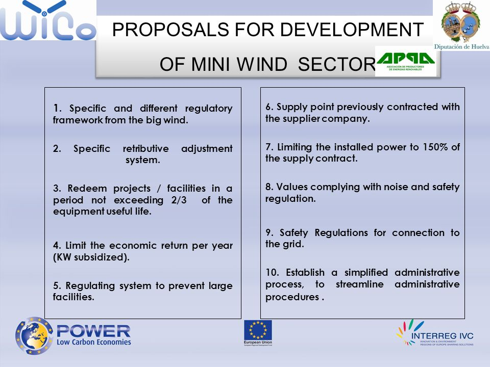 PROPOSALS FOR DEVELOPMENT OF MINI WIND SECTOR PROPOSALS FOR DEVELOPMENT OF MINI WIND SECTOR 1.