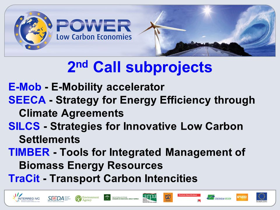 2 nd Call subprojects E-Mob - E-Mobility accelerator SEECA - Strategy for Energy Efficiency through Climate Agreements SILCS - Strategies for Innovati