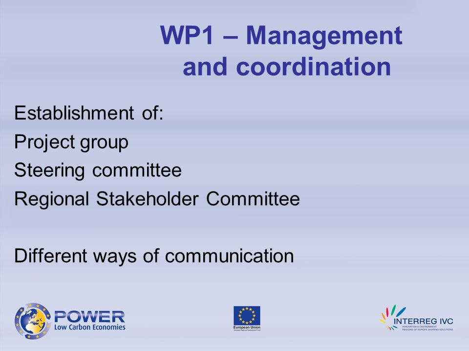 Establishment of: Project group Steering committee Regional Stakeholder Committee Different ways of communication WP1 – Management and coordination