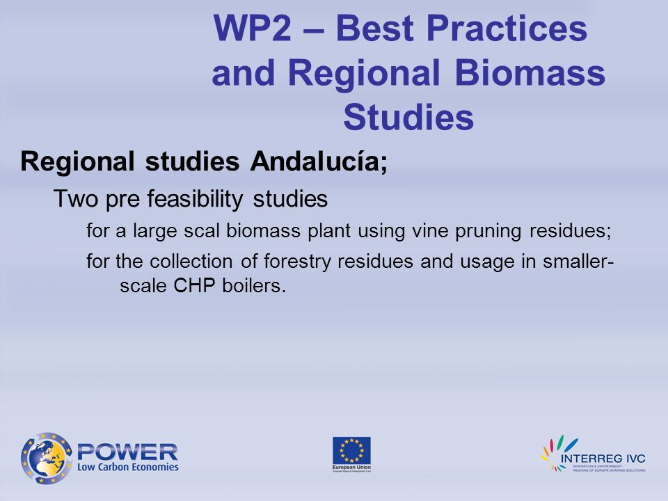 Regional studies Andalucía; Two pre feasibility studies for a large scal biomass plant using vine pruning residues; for the collection of forestry res