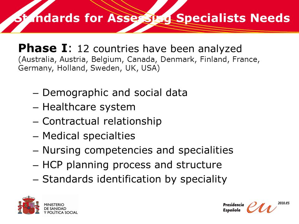 Standards for Assessing Specialists Needs Phase I: 12 countries have been analyzed (Australia, Austria, Belgium, Canada, Denmark, Finland, France, Germany, Holland, Sweden, UK, USA) – Demographic and social data – Healthcare system – Contractual relationship – Medical specialties – Nursing competencies and specialities – HCP planning process and structure – Standards identification by speciality