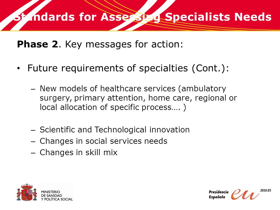 Standards for Assessing Specialists Needs Phase 3.